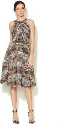 Monique Lhuillier Leopard Printed Chiffon Dress