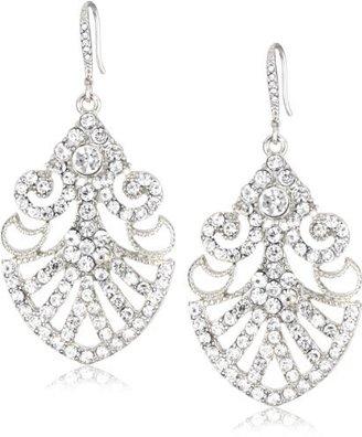 Nina Bridal Art Deco Filigree Pave Crystal Drop Earrings