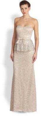 Badgley Mischka Strapless Metallic-Lace Gown