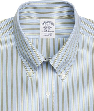 Brooks Brothers Supima® Cotton Non-Iron Slim Fit Button-Down Broadcloth Framed Alternating Stripe Dress Shirt