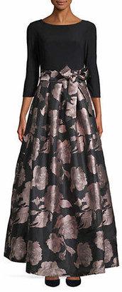Eliza J Floral Bow Waist Ball Gown