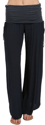 Hard Tail Side Ruched Boho Pant in Onyx
