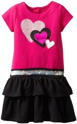 Nannette Girls 2-6X 1 Pieced Shine Heart Dress