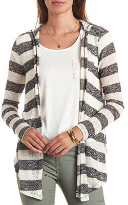 Charlotte Russe Hooded Open Front Striped Cardigan