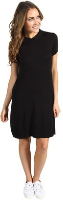 Lacoste S/S Sweater Polo Dress w/ Button Back (Black) - Apparel