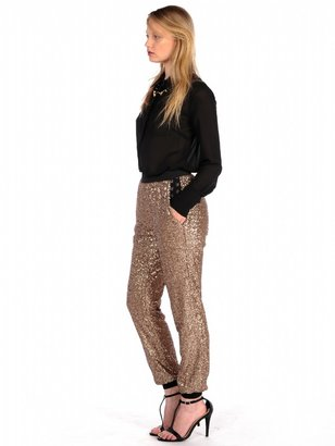 House Of Harlow Jagger Sequin Pants In Gold
