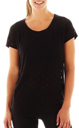 JCPenney Xersion Banded Bottom Burnout Tee