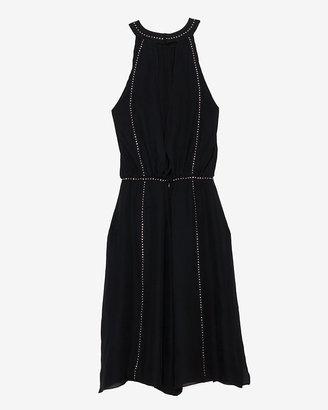 L'Agence Shirred Embellished Dress: Black