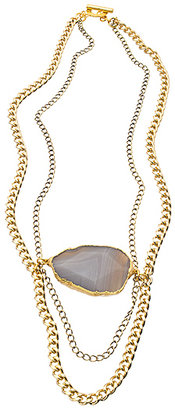 Janna Conner Designs Gold and Botswana Agate Chain Bib Necklace