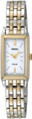 Seiko Womens Two-Tone Stainless Steel Solar Bracelet Watch SUP028 $250 thestylecure.com