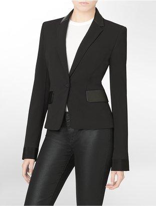 Calvin Klein Faux Leather Trim Blazer