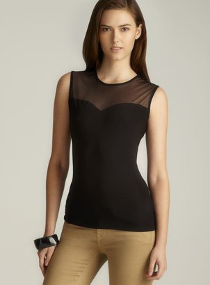 Annalee + Hope Black Two Tone Sheer Top
