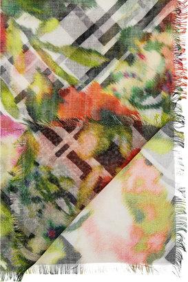 Oscar de la Renta Printed modal and cashmere-blend scarf