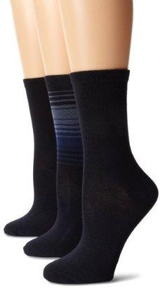 Anne Klein Women's 3 Pair Pack Ombre Stripe Crew Socks