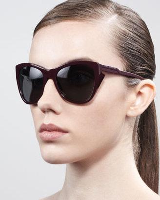 Stella McCartney Squared Cat-Eye Sunglasses, Burgundy