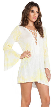 Blue Life Bell Sleeve Lace Up Tunic