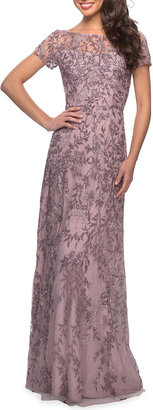 La Femme High-Neck Floral Beaded Lace Gown