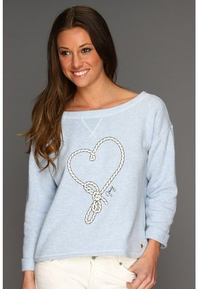 Juicy Couture Heathered Amalfi Terry L/S Pullover (Heather Blue) - Apparel