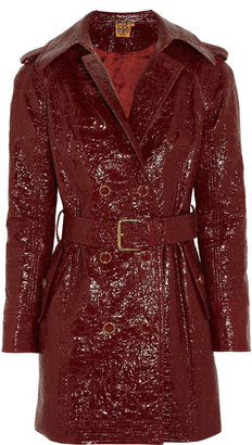 Tory Burch Darlene cracked glossed-cotton trench coat