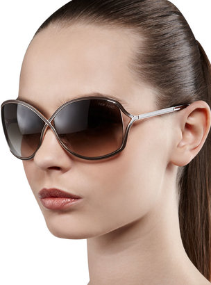 Tom Ford Rickie Round Open-Temple Sunglasses