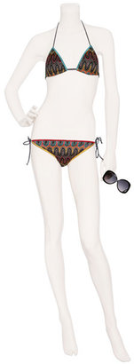 Missoni Mare Pebble Grey/Sunset Leaf Pattern Reversible String Bikini