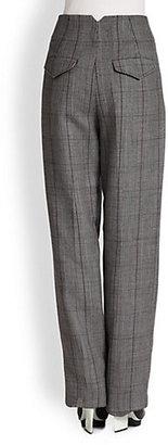 3.1 Phillip Lim High-Waist Wide-Leg Plaid Trouser Pants