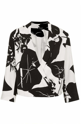 Topshop Leaf print crop jacket