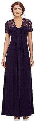 JS Boutique Lace-Yoke Gown