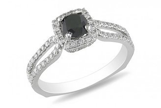 Ice 1 1/5 CT Black and White Diamond 14K White Gold Engagement Ring