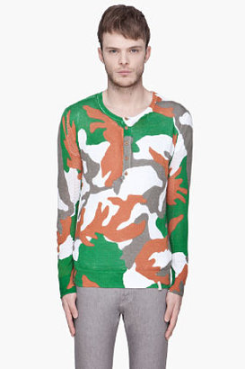 Diesel Green camo and mesh K-Canopo Henley Sweater