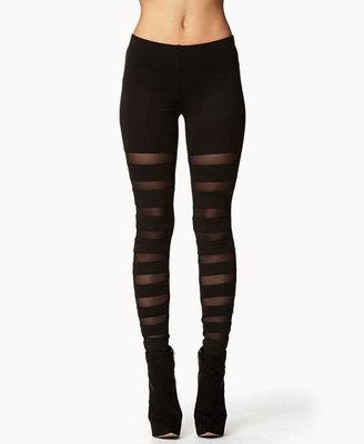 Forever 21 Mesh Stripe Leggings