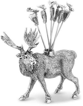 Williams-Sonoma Pewter Moose Cocktail Picks & Holder Set