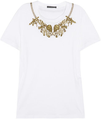 Alexander McQueen Embellished cotton T-shirt