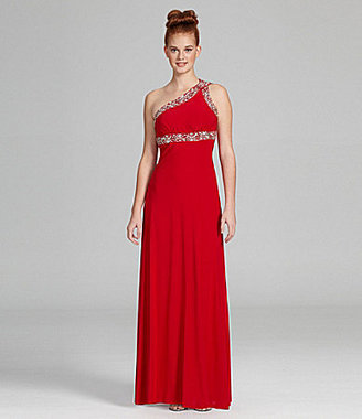 B. Darlin One-Shoulder Beaded Gown
