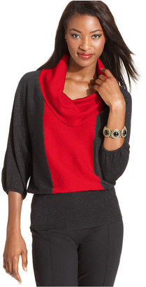 Style&Co. Sweater, Three-Quarter-Sleeve Metallic Colorblock