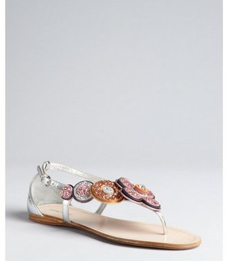 Miu Miu Silver Pink And Orange Leather Glitter Daisy Thong Sandals