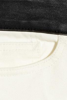 R 13 Hose leather-trimmed skinny jeans