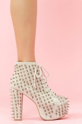 Nasty Gal Lita Spike Platform Boot - Bone Suede