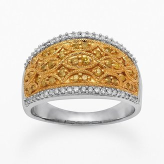 10k Gold Over Silver & Sterling Silver 1/2-Ct. T.w. Round-Cut Yellow & White Diamond Filigree Ring