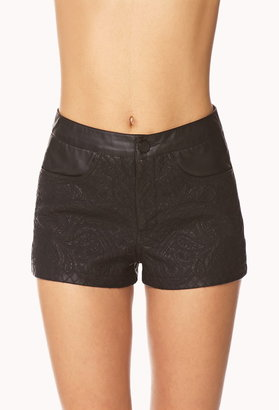 Forever 21 Quilted Paisley Faux Leather Shorts