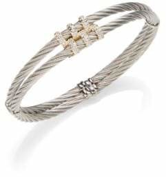 Alor Classique Diamond & 18K Yellow Gold Double Cable Bracelet