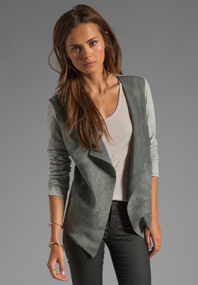 Michael Stars Leather Long Sleeve Drape Front Cardigan in Heather Grey/Grey