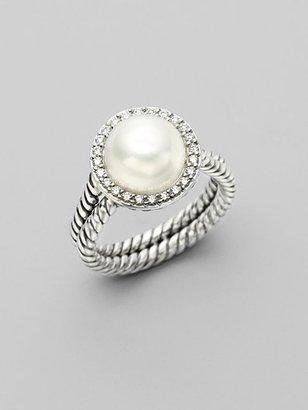 David Yurman White Pearl, Diamond & Sterling Silver Ring