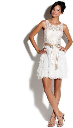 Teeze Me Juniors Dress, Sleeveless Ruffled Lace