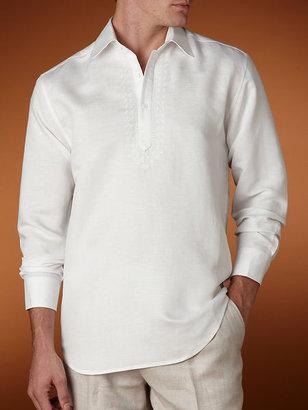 Cubavera Long Sleeve Point Collar Popover Shirt