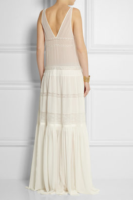 Roberto Cavalli Lace-paneled silk-chiffon maxi dress
