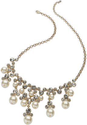Charter Club Necklace, Gold-Tone Glass Pearl and Bead Chandelier Bib Necklace