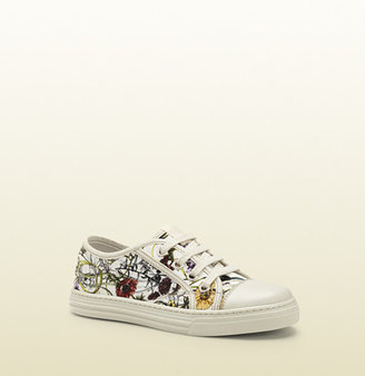 Gucci Kid's Flora Infinity Printed Cotton Lace-Up Sneaker