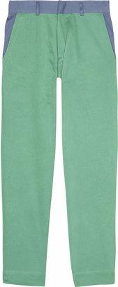 Michael Van Der Ham Tri-tone cropped cotton-twill pants