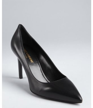Yves Saint Laurent black leather pointed toe pumps